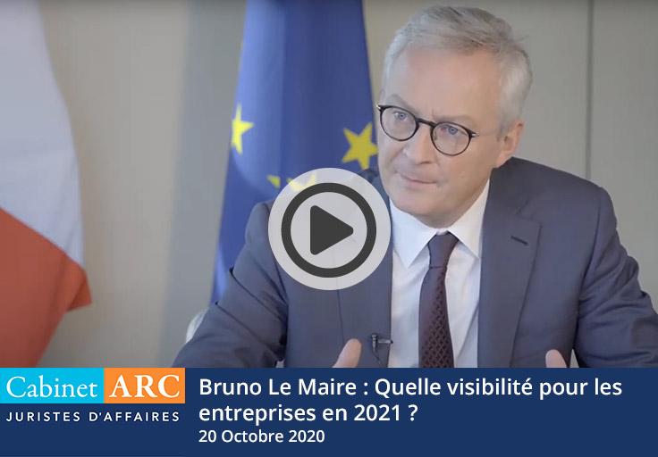 Retrouvez l'intervention complète de Bruno Le Maire lors du webinaire du 20 Octobre 2020