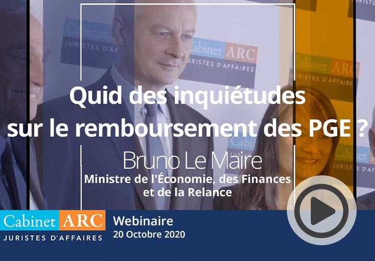 Inquiétudes sur les remboursements des prêts garantis par l'Etat. L'avis de Bruno Le Maire, le 20 Octobre 2020