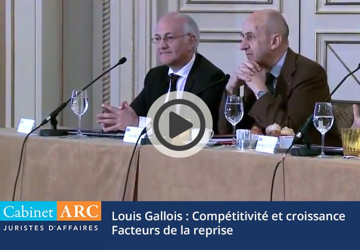 Louis Gallois in 2013 spoke to guests of Cabinet ARC on competitiveness and growth French